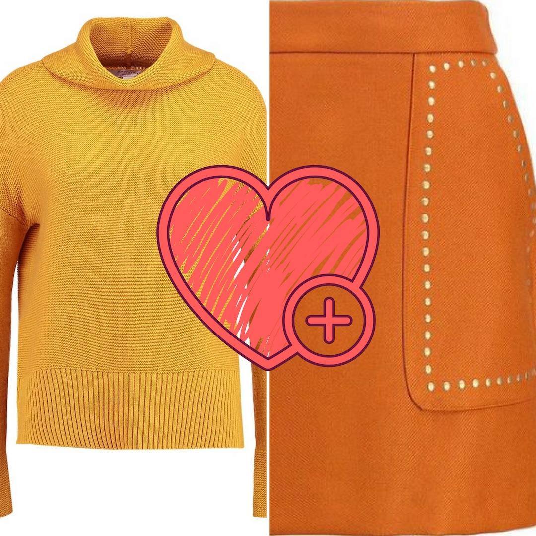 stylizacja ze swetrem i spódniczką