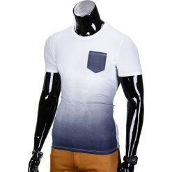 T-shirty męskie: T-SHIRT MĘSKI BEZ NADRUKU S427 – BIAŁY/CIEMNOGRANATOWY