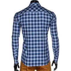 KOSZULA MĘSKA W KRATĘ Z DŁUGIM RĘKAWEM K419 - GRANATOWA. Brązowe koszule męskie na spinki marki Ombre Clothing, m, z aplikacjami, z kontrastowym kołnierzykiem, z długim rękawem. Za 49,00 zł.