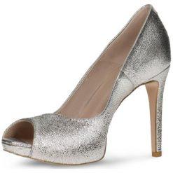 Czółenka OLIVIA. Szare buty ślubne damskie Gino Rossi, ze skóry, z otwartym noskiem, na wysokim obcasie, na szpilce. Za 249,90 zł.