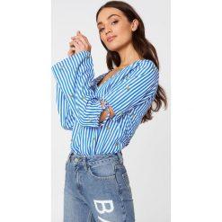 Rut&Circle Bluzka w paski Pineapple - Blue,Multicolor. Niebieskie bluzki z odkrytymi ramionami Rut&Circle, z haftami, z tkaniny. W wyprzedaży za 66,57 zł.