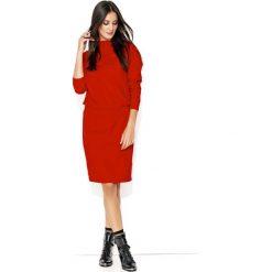 Dresowa Czerwona Sukienka ze Ściągaczem. Szare sukienki dresowe marki bonprix, melanż, z kapturem, z długim rękawem, maxi. Za 112,90 zł.