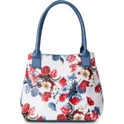 Torebki klasyczne damskie: Torba do ręki w kwiaty bonprix jasnoniebiesko-ciemnoniebiesko-czerwony
