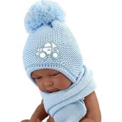 Czapka niemowlęca z szalikiem CZ+S 004D. Szare czapeczki niemowlęce Proman. Za 40,78 zł.