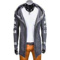 Bluzy męskie: BLUZA MĘSKA Z KAPTUREM NARZUTKA B691 – GRAFITOWA