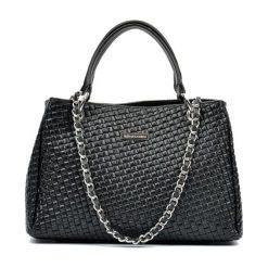Torebki klasyczne damskie: Skórzana torebka w kolorze czarnym – (S)42 x (W)33 x (G)17 cm