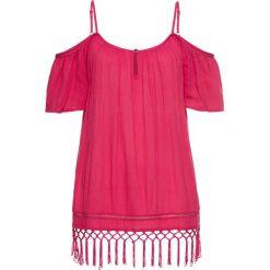 Bluzka z odsłoniętymi ramionami bonprix różowy. Czerwone bluzki asymetryczne bonprix, z materiału. Za 89,99 zł.