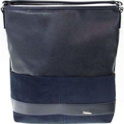 DAMSKA TOREBKA MILTON  GRANAT. Niebieskie shopper bag damskie Milton, w paski, ze skóry, na ramię. Za 119,00 zł.