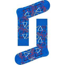 Happy Socks - Skarpety Geometric. Niebieskie skarpetki męskie Happy Socks, z bawełny. W wyprzedaży za 29,90 zł.