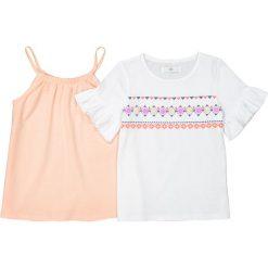 Bluzki dziewczęce: Zestaw t-shirt i koszulka na ramiączkach 3-12 lat
