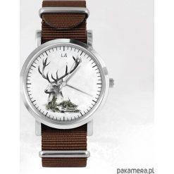 Zegarek - Jeleń - brązowy, nato. Brązowe zegarki męskie N/A. Za 111,00 zł.