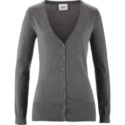 Kardigany damskie: Sweter rozpinany bonprix szary melanż