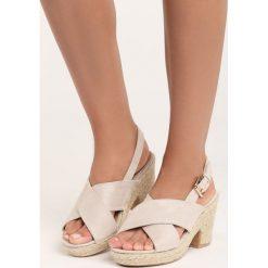Jasnobeżowe Sandały Madame. Szare sandały damskie na słupku marki Born2be, w paski, na wysokim obcasie. Za 59,99 zł.