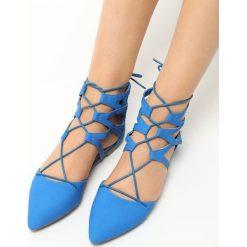 Baleriny damskie: Niebieskie Balerinki Nori