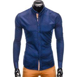 Koszule męskie na spinki: KOSZULA MĘSKA Z DŁUGIM RĘKAWEM K402 – GRANATOWA