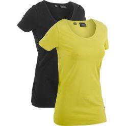 Długi t-shirt (2 szt.), krótki rękaw bonprix pistacjowy + czarny. Czarne t-shirty damskie bonprix. Za 49,98 zł.
