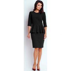 Czarna Wizytowa Sukienka Midi z Baskinką. Czarne sukienki koktajlowe Molly.pl, do pracy, l, midi, baskinki. W wyprzedaży za 123,60 zł.
