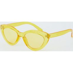 Przezroczyste okulary przeciwsłoneczne cat eye. Żółte okulary przeciwsłoneczne damskie lenonki Pull&Bear. Za 49,90 zł.