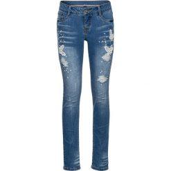 """Dżinsy Skinny  z haftem bonprix niebieski """"stone"""". Niebieskie jeansy damskie marki bonprix, z haftami, z jeansu. Za 124,99 zł."""