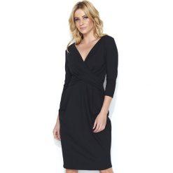 Wizytowa Czarna Sukienka  Bombka z Kopertowym Dekoltem. Brązowe sukienki dzianinowe marki Mohito, l, z kopertowym dekoltem, kopertowe. Za 109,90 zł.