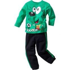 Koszulka z długim rękawem + spodnie dresowe (2 części) bonprix szmaragdowo-czarny. Zielone bluzki dziewczęce z długim rękawem bonprix, z nadrukiem, z dresówki. Za 59,99 zł.