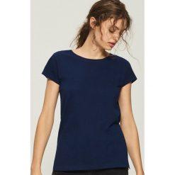 T-shirt Basic - Granatowy. Niebieskie t-shirty damskie Sinsay, l. Za 9,99 zł.