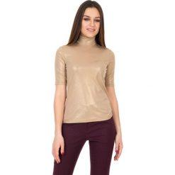 Bluzki asymetryczne: Złota dzianinowa bluzka z golfem i krótkim rękawem BIALCON