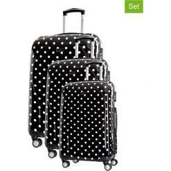 Walizki: Zestaw walizek w kolorze czarnym ze wzorem – 3 szt.