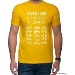 Koszulka T-SHIRT. Cycling is the best therapy. Czarne t-shirty męskie z nadrukiem marki Pakamera, m, z kapturem. Za 85,00 zł.
