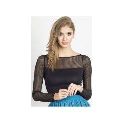 Bluzka Jenny. Czarne bluzki asymetryczne Wow fashion, xl, w paski, z wiskozy, eleganckie, z długim rękawem. Za 139,00 zł.