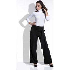 Spodnie z wysokim stanem: Czarne Spodnie Eleganckie Szerokie z Wiązaniem na Boku