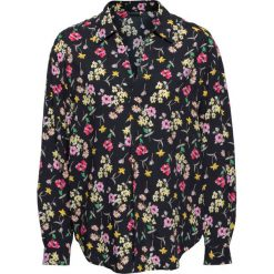 Bluzka oversize bonprix czarny w kwiaty. Czarne bluzki oversize marki bonprix, w kwiaty, z dekoltem w serek. Za 59,99 zł.