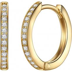 Srebrne kolczyki-kreole z cyrkoniami. Żółte kolczyki damskie Stylowa biżuteria, z cyrkonią, pozłacane. W wyprzedaży za 108,95 zł.
