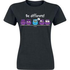 Be Different! Koszulka damska czarny. Czarne bluzki z odkrytymi ramionami marki Be Different!, xl, z nadrukiem, z okrągłym kołnierzem. Za 42,90 zł.