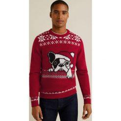 Mango Man - Sweter Bulldog. Brązowe swetry klasyczne męskie Mango Man, l, z dzianiny, z okrągłym kołnierzem. Za 139,90 zł.