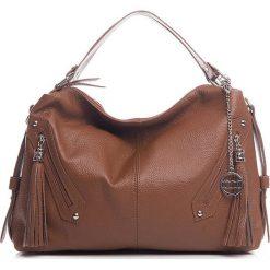 Skórzana torebka w kolorze brązowym - 40 x 35 x 10 cm. Brązowe shopper bag damskie Best of Italian Bags, w paski, ze skóry. W wyprzedaży za 278,95 zł.