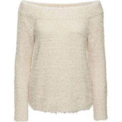 Sweter dzianinowy bonprix beżowo-szary. Niebieskie swetry klasyczne damskie marki bonprix, na lato, w kwiaty, z asymetrycznym kołnierzem. Za 89,99 zł.