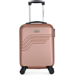 """Walizka """"Queens E"""" w kolorze różowozłotym - 35 x 50 x 20 cm. Żółte walizki American Travel, z materiału. W wyprzedaży za 195,95 zł."""