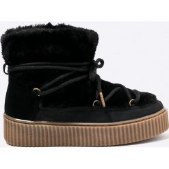 Gioseppo - Botki. Czarne buty zimowe damskie marki Gioseppo, z materiału, z okrągłym noskiem, na obcasie. W wyprzedaży za 179,90 zł.