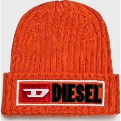 Diesel - Czapka. Czerwone czapki zimowe męskie Diesel, z bawełny. Za 239,90 zł.