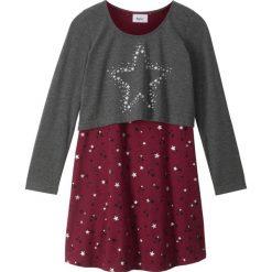 """Sukienki dziewczęce z falbanami: Sukienka + shirt """"boxy"""" (2 części) bonprix antracytowy melanż – czerwony rododendron"""