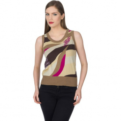 Sweter w kolorze brązowym ze wzorem. Szare swetry klasyczne damskie marki Silvian Heach, l, z dzianiny, z włoskim kołnierzykiem. W wyprzedaży za 169,95 zł.