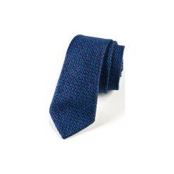 Krawat męski  JEDWAB WZOREK. Niebieskie krawaty męskie HisOutfit, z jedwabiu. Za 129,00 zł.