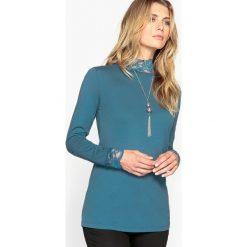 T-shirty damskie: T-shirt jednolity ze stójką, długi rękaw