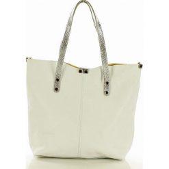 JENNIFER Torebka skórzana shopper bag MARCO MAZZINI - biały ze srebrnym. Białe shopper bag damskie MAZZINI, w paski. Za 269,00 zł.