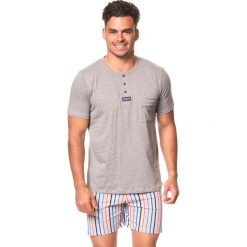 Piżamy męskie: Piżama w kolorze szaro-pomarańczowym