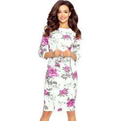 Dominika – sukienka z dekoltem eksponującym plecy gałązka fiolet. Szare sukienki balowe Bergamo, na co dzień, z materiału, z okrągłym kołnierzem, dopasowane. Za 97,00 zł.