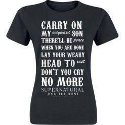 Supernatural Carry On Koszulka damska czarny. Czarne bluzki na imprezę Supernatural, xxl, z nadrukiem, z okrągłym kołnierzem. Za 54,90 zł.