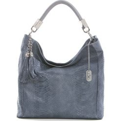 Torebki klasyczne damskie: Skórzana torebka w kolorze błękitnym – 28 x 22 x 8 cm