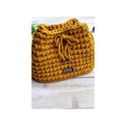 SZYDEŁKOWA TOREBKA WOREK- KOLOR MUSZTARODWY. Żółte torebki worki Lililu, z bawełny. Za 169,00 zł.